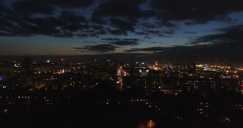 Blackout in the big city. Aerial.