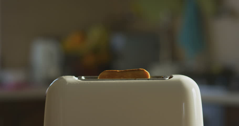 Toaster in Kitchen Making Toasts at Breakfast  on Sunny Morning in Slow Motion | Shutterstock HD Video #1019616331
