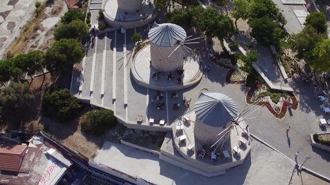 4K Aerial view of Alacati Windmills - izmir