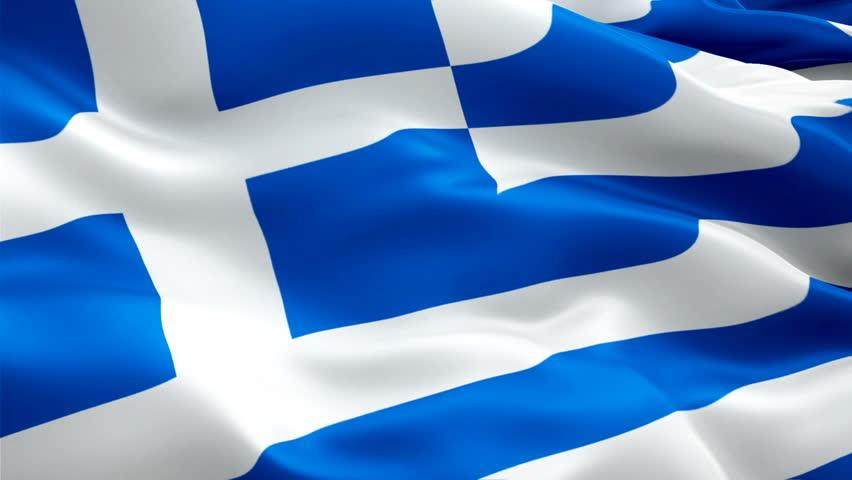 Greek flag waving in wind video footage Full HD. Realistic Greek Flag background. Greece Flag Looping Closeup 1080p Full HD 1920X1080 footage. Greece EU European country flags Full HD