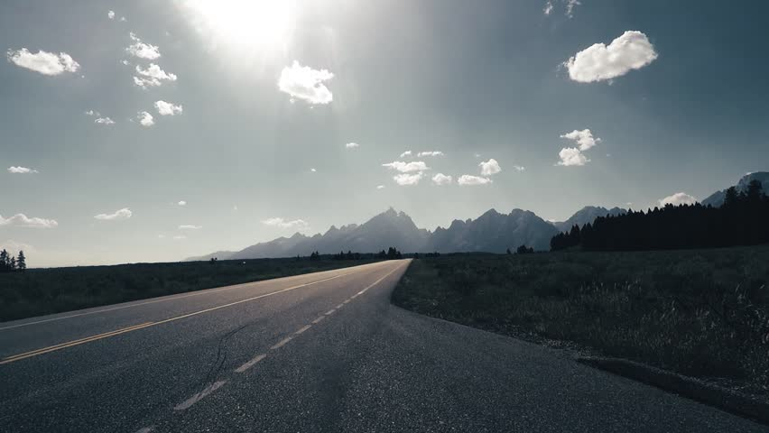 Timelapse at Grand Teton, back light, Point of View - Mounted 2.7k Ultra HD footage #1019721031