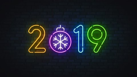 Neon 2019. Neon sing Happy New Year and Merry Christmas. Logo, emblem, banner and label, bright signboard, light movie