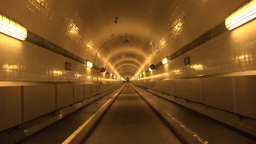 ULTRA HD 4K POV, Point of view of passageway in alight tunnel, Hamburg corridor, handheld camera #10197596