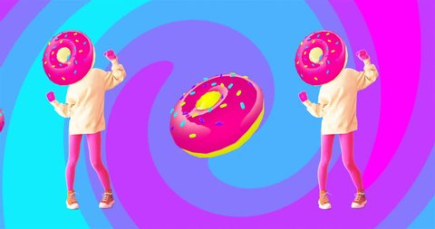 Fashion animation design. Dancing Donuts Girl. Fast food art. Candy minimal concept