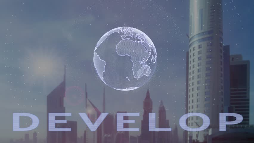 Develop text with 3d hologram of the planet Earth against the backdrop of the modern metropolis. Futuristic animation concept | Shutterstock HD Video #1019813611