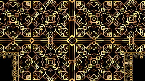 Art deco style gold angled shape pattern lighting up in diamond formations on a black background
