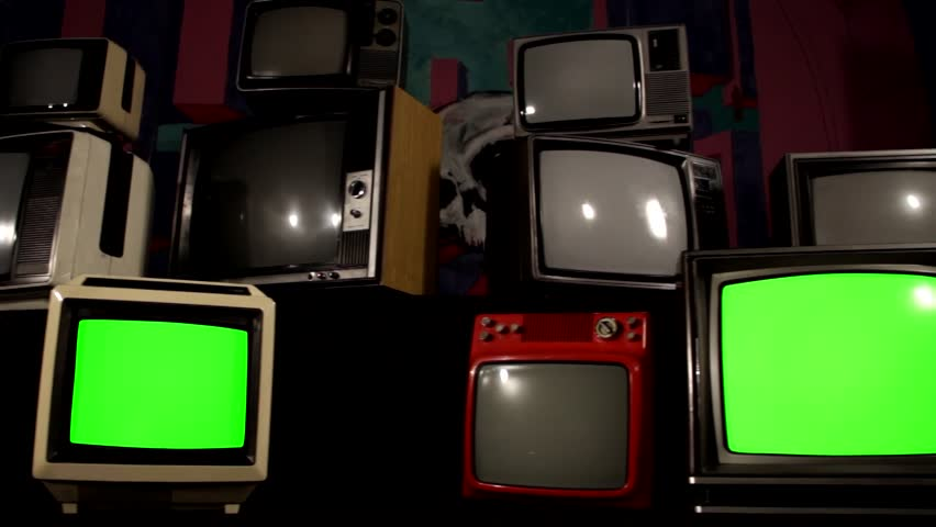"80s TVs with Green Screen. Parallel Dolly Shot. Ready to Replace Green Screen With any Footage or Picture you Want. You Can Do it With ""Keying"" (Chroma Key) Effect in After Effect.  