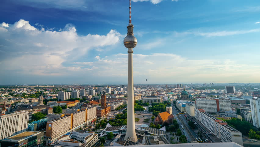 Time lapse of Berlin Cityscape with TV Tower, Fernsehturm Berlin.
