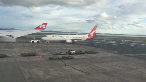 AUCKLAND - NOV 20 2018:Qantas airplane in Auckland Airport.Qantas Airways is the flag carrier of Australia and its largest airline by fleet size, international flights and international destinations.