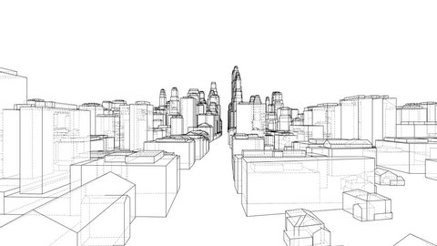 City Walk blueprint style. The layers of visible and invisible lines are separated. 3d illustration turntable video