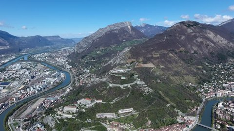 Bastille fortress on mount Rachais Grenoble drone view aerial zoom out