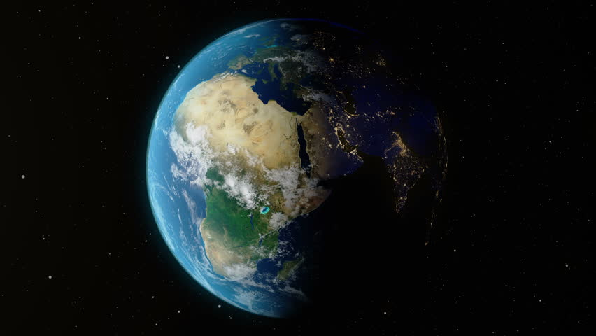 Earth rotates around its axis. World Globe surrounded by infinite space. World Globe from Space. Change of night and day. Elements of this image furnished by NASA | Shutterstock HD Video #1020056011