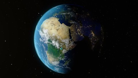 Earth rotates around its axis. World Globe surrounded by infinite space. World Globe from Space. Change of night and day. Elements of this image furnished by NASA