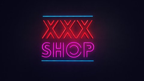 Sex Shop xxx neon sign lights logo text glowing multicolor in Night Club Bar Blinking Neon Sign Style. Motion Animation. Video available in HD render footage