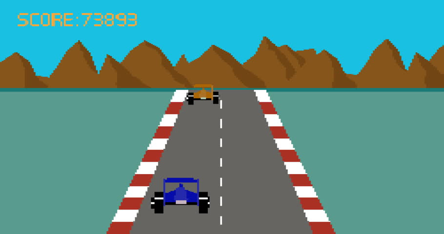 Retro pixel art style race car video game cartoon animation