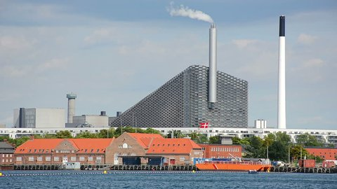 COPENHAGEN, DENMARK - CIRCA 2018: Amager Bakke (Amager Hill) also known as Amager Slope or Copenhill, a combined heat and power waste-to-energy plant in Amager, Copenhagen. It was opened in 2017.