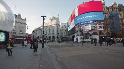 London, United Kingdom - November 20, 2013: Piccadilly Circus Square With Big Led Display Screens at Winter Day in London, United Kingdom.