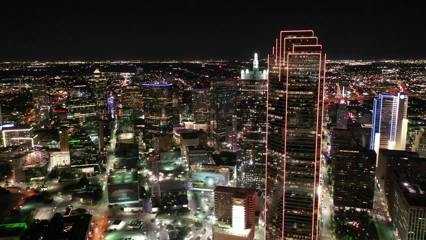 Dallas, Texas / United States - October 1, 2018 : Aerial of Downtown Dallas, Texas at night, and the skyline at sunset.
