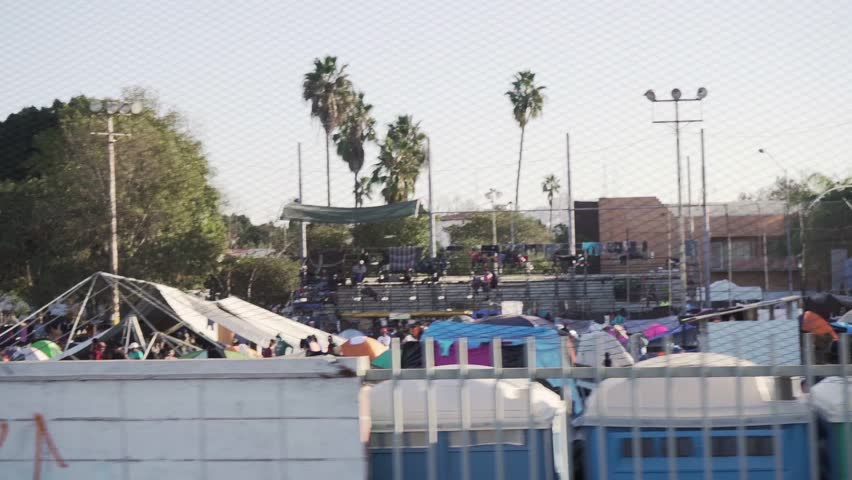 Tijuana, Mexico November 25 2018   Honduras migration camp Tijuana US border caravan near San Ysidro southern us entry