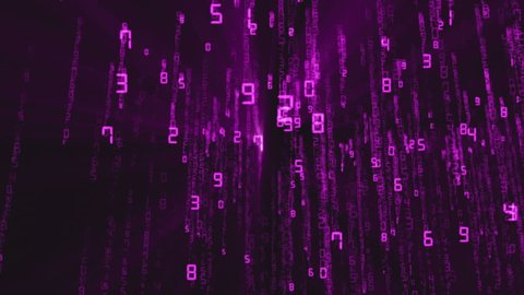 Binary rain, streams of purple numbers, 4K abstract background, matrix effect.