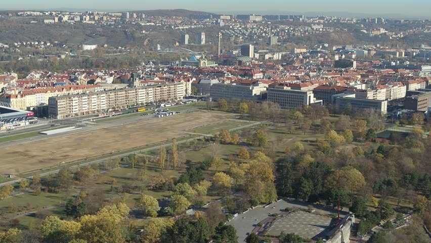 Drone aerial Prague General Arena downtown | Shutterstock HD Video #1020245371