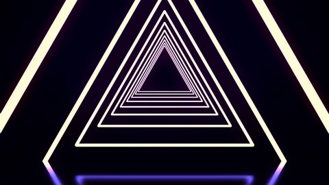 Beautiful abstract triangle tunnel with black, white, and purple light lines coming closer. Flying through glowing neon triangle tunnel on black background