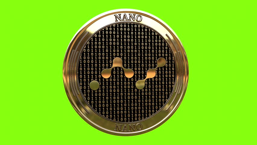 Golden coin Nano (NANO) cryptocurrency  spinning in perfect loop isolated on green  background. 4K video. 3D rendering. | Shutterstock HD Video #1020320581