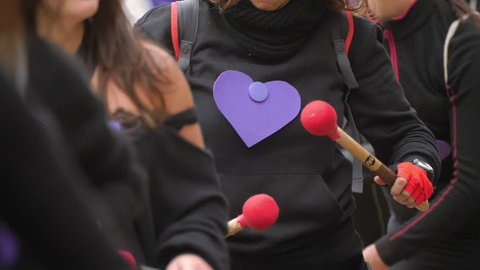 Barcelona, Spain. November 25th 2018: Feminist Activists in a Demonstration doing Music with Drums. Batucada. March for the International Day of Nonviolence against Women and Children in Barcelona