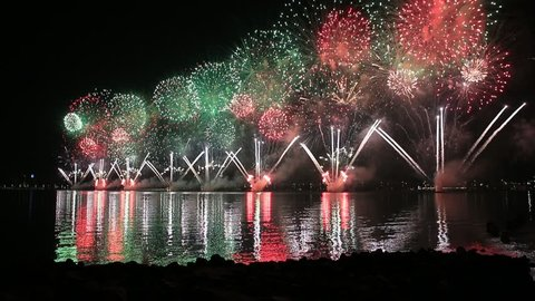 Fireworks lighting up the sky as part of 47th National Day celebrations in Abu Dhabi, UAE