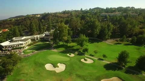 Drone Shot Flying Over Golf Course And Private Event