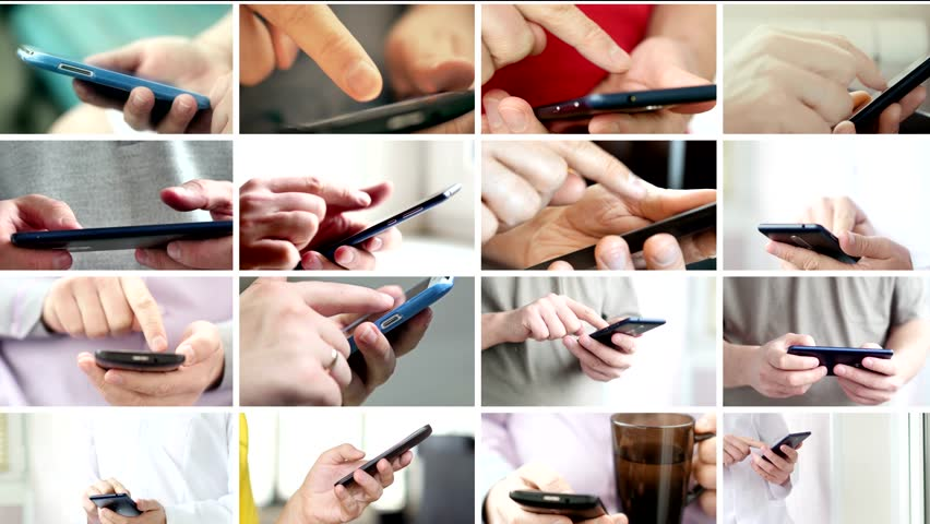 Collage of hand using modern touchscreen smart phone close-up | Shutterstock HD Video #1020487111