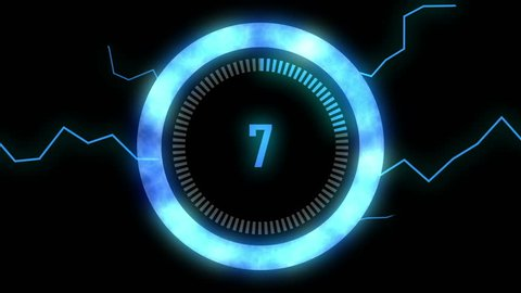 Blue Futuristic countdown 10 to 1 with lighting effect. Circle count down numbers from 10 to 1 with glow ring and bolt motion.