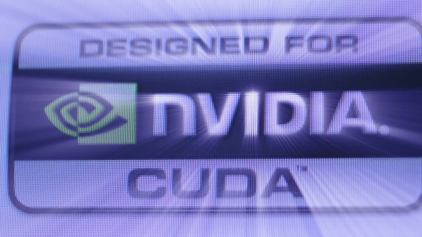 CALIFORNIA, UNITED STATES - CIRCA 2014: Focus with tilt-shift lens to Designed for Nvidia Cuda GPU processor as seen on Apple Computers iMac computer iridescent shining projecting light | Shutterstock HD Video #1020551671