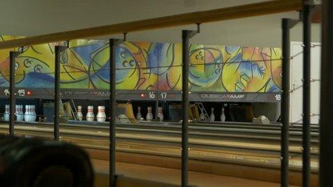 Kyiv, Ukraine - 11 22 2018: Bowling lanes ball candlepin game pin setter