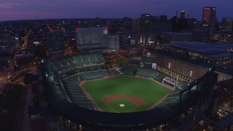 Drone Shot of Oriole Park at Night