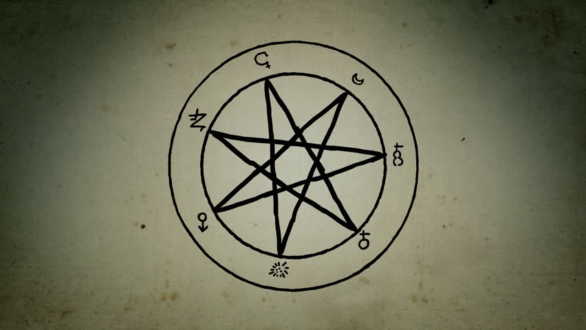 Mystical planetary scheme days of the week ancient astrological medieval esoteric heptagram star lines drawing animation | Shutterstock HD Video #1020667111