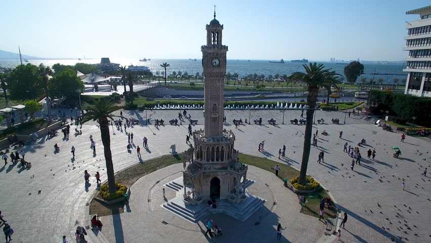 Izmir view airvideo drone clock tower, izmir korfezi