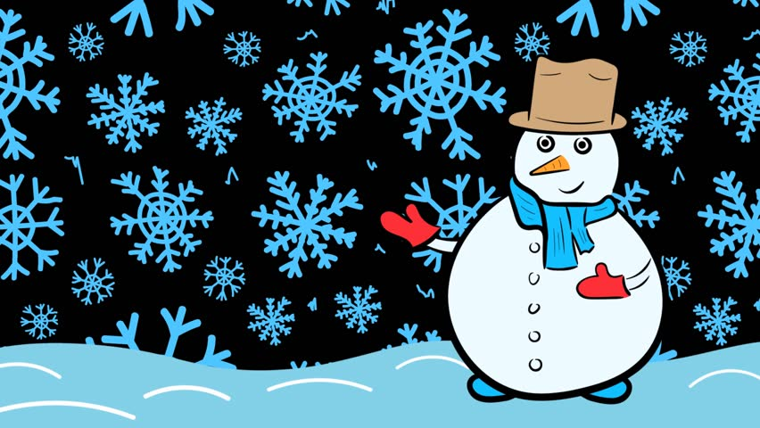 Snowman and blue snowflakes | Shutterstock HD Video #1020702241