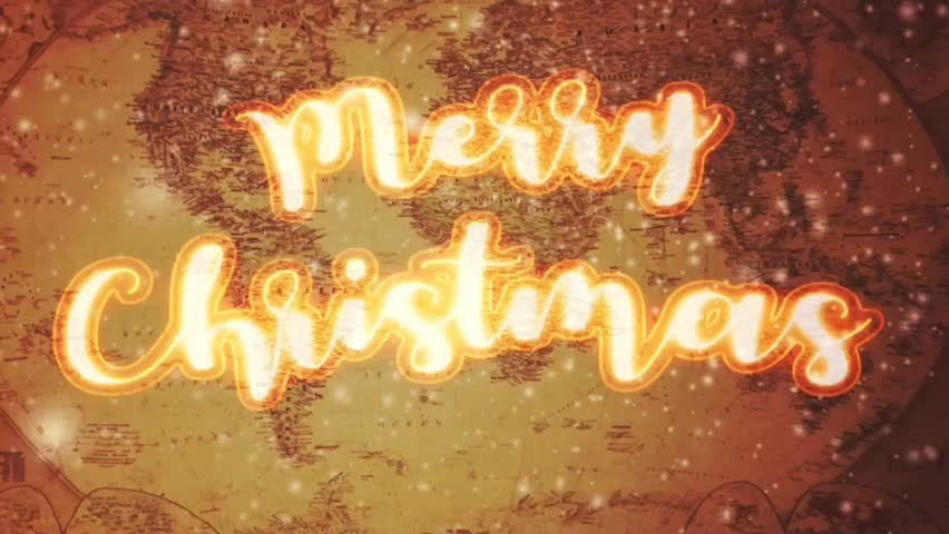 Merry Christmas greetings to whole world with glowing text animation. | Shutterstock HD Video #1020717091