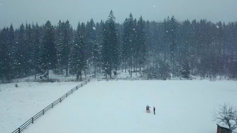 Winter aerial of young wedding couple running and having fun holding hands in heavy winter snowfall towards fir or spruce forest. Snowy engagement ceremony. Romantic fairy tale wedding inspiration.