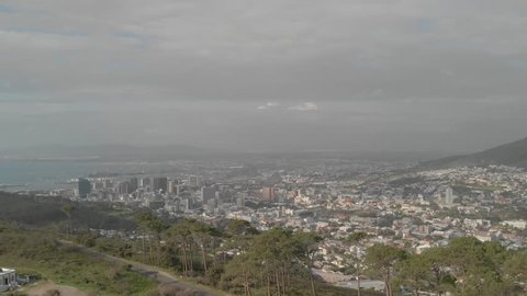 Aerial Shot Panning revealing Table Mountain, ungraded, shot at 60 fps at lions head mountain in Capetown, South Africa