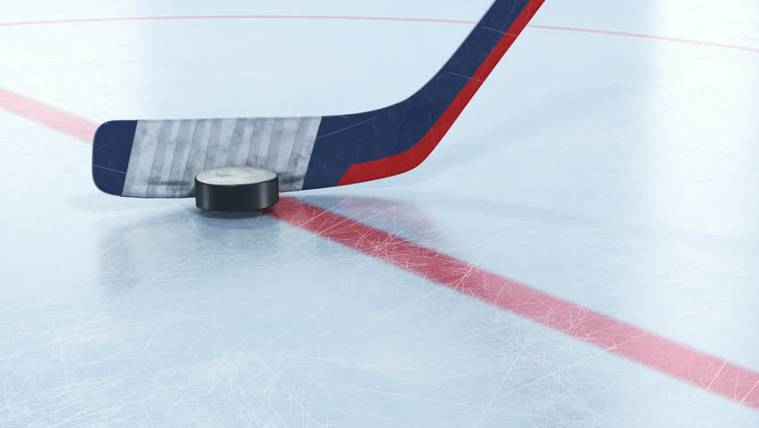 Hockey Stick Hitting Hockey Puck in Slow Motion Close-up on Ice. Beautiful 3d animation of Flying Puck. Active Sport Concept. ID Alpha Mask. 4k Ultra HD 3840x2160. | Shutterstock HD Video #1020890011