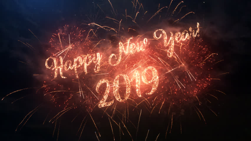 2019 Happy New Year greeting text with particles and sparks on black night sky with colored slow motion fireworks on background, beautiful typography magic design. | Shutterstock HD Video #1020892801