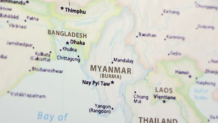 Burma Political Map.Myanmar On A Political Map Stock Footage Video 100 Royalty Free