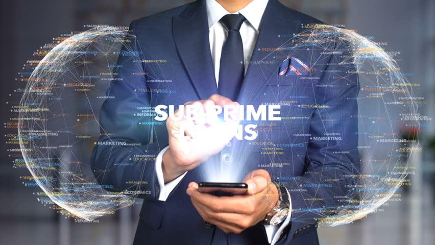 Businessman Hologram Concept Tech - SUB-PRIME LOANS   Shutterstock HD Video #1020896641