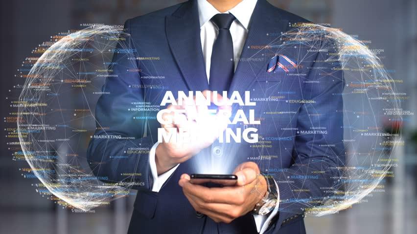 Businessman Hologram Concept Tech - ANNUAL GENERAL MEETING   Shutterstock HD Video #1020898561