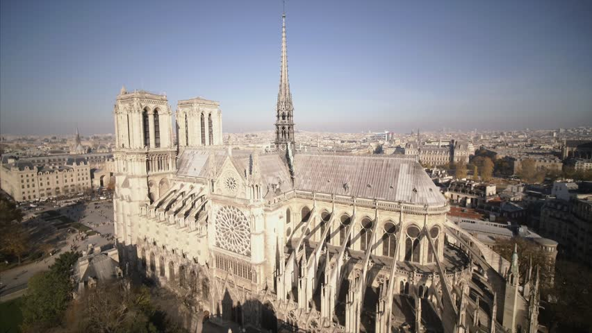 Notre Dame de Paris Cathedral drone | Shutterstock HD Video #1020972091