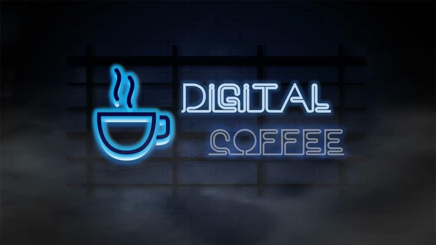 Digital Coffee Neon Sign  | Shutterstock HD Video #1021003741