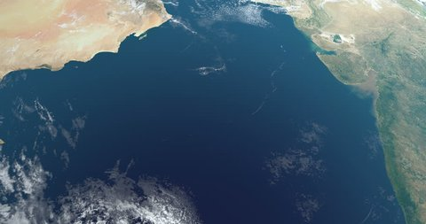 Arabian Sea in the Indian Ocean, aerial view from outer space of earth planet