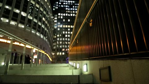 Dolly shot of stairs in Canary Wharf